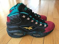 Reebok Question 1 One Mid Detroit Burn Rubber Black Garnet Teal AI J95560 8.5