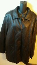 Women's Black Leather Quilted Jacket button front Size XL long