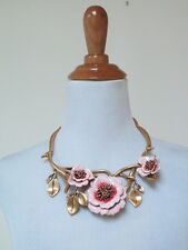 Oscar de la Renta Necklace Painted Flower 24k Russian Gold Pink $795 Worn Once