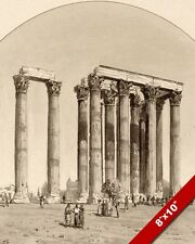 ANCIENT GREEK RUINS TEMPLE OF ZEUS GREECE INK PAINTING ART REAL CANVAS PRINT