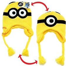 NEW Original Despicable Me Minion Time Reversible Laplander Knitted Beanie Hat