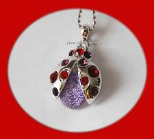 Red Hat LadyBug Pendent Necklace / Red & Purple Crystals / Silver-tone Chain