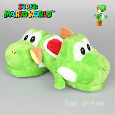 New Super Mario Green Yoshi Adult Soft Plush Slipper Shoes 11'' Great Gift