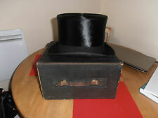 Rare Andre & Co Black Silk Top Hat size 7 3/8 in Original Box
