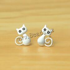 Lovely Girls Women Cat 925 Sterling Silver Stud Earring for Gift 7mm