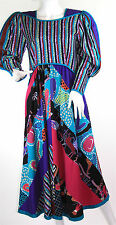 Vintage 1980's Jeanne Marc Folkloric Bohemian Art Dress Size Small 8/10