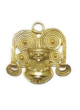 ACROSS THE PUDDLE 24k Gold Plated Pre-Columbian Shaman with Crown Pendant