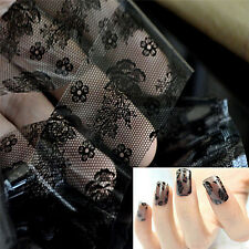 Fashion Black Flower Lace Transfer Printing Nail Stickers Nail Art Foil Decals