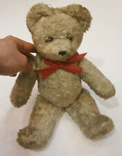 ANTIQUE TOY MOHAIR HUGE EARLY TEDDY BEAR HUMP STEIFF TOY GLASS EYES red ribbon