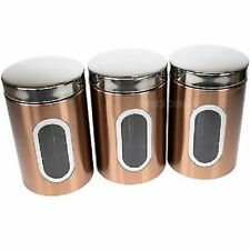 Tea Coffee Sugar Storage Canister Set  Addis Copper Black Silver Air Tight