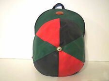 Vintage Rucksack Leder Look Blau Grün Rot Beutel Tasche Backpack Bag Papillon