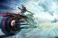 Cool Motorcycle Girl Abstract Fantasy Poster Fabric 30x45cm Print Wall Decor 40