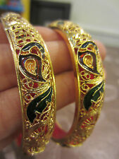 22ct GOLD PLATED BORDEAUX/VERDE Meena PAVONE asiatica/Indiano Braccialetto 2.8 x 2