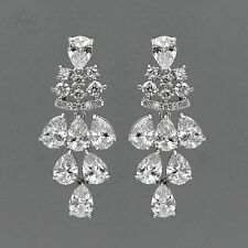 18K White Gold Plated Cubic Zirconia CZ Wedding Bridal Drop Dangle Earrings 2784