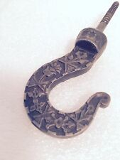 EARLY HAND FORGED WROUGHT IRON HOOK ORNATE w/ FLOWER DESIGN