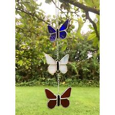 HANDMADE Stained Glass Red White & Blue Butterfly Sun catcher Glass Gift