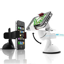 White 360° In Car Dashboard Cell Mobile Phone GPS Mount Holder Frame Stand EC