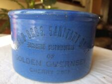 1 lb Red Wing Stoneware EWALD Dairy Advertising Butter Crock Blue AS IS