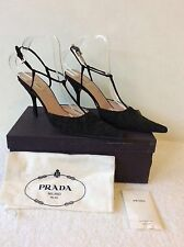 PRADA BLACK LACE POINTED TOE T BAR  HEELS SIZE 6.5/39.5