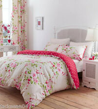 Superbe Coton Taille King Rose Rose Rouge Floral Couette Réversible shabby chic set