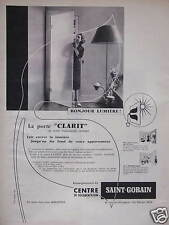 PUBLICITÉ PORTE CLARIT TRANSLUCIDE ET TRANSPAROI DE SAINT-GOBAIN BRIQUE DE VERRE
