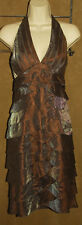 CACHE - Brown Iridescent - Tiered Ruffle Design HALTER Style DRESS sz 10 *Nice