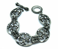 Vintage Style Steel Men Steel Men's Chain Link Roman Jewelled Cross Bracelet