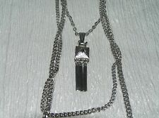 Vintage Triple Strand Chain with Small Square & Flat Dangle MODERNIST Pendant
