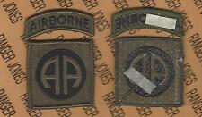 US Army 82nd Airborne Division OD Green & Black BDU uniform patch m/e