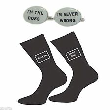 I'm the Boss I'm Never Wrong Cufflinks and Trust me I'm the Boss Socks Gift Set