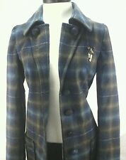 MISS SIXTY M60 Winter Coat Plaid Wool Belted Trench Jacket Blue/Brown Large L