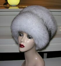 Gorgeous Big thick Norwegian fur Blue fox hat size 22.5 inches