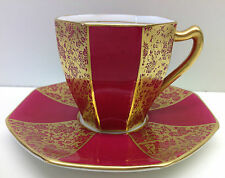 """Royal Doulton """"Gold Print"""" Pattern Cabinet Cup & Saucer."""