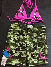 ROXY Womens Surf Board Camo Swim Shorts/ Top-Hot Pink- Size 9/M *NEW W TAGS*