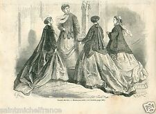 Robes Mode Fashion Dress Paris Second Empire Napoléon III GRAVURE OLD PRINT 1866