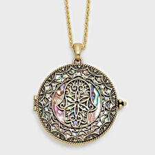 """Hamsa Hand Evil Eye Charm Necklace GOLD Magnifying Glass 33"""" Protect Jewelry"""