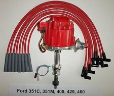 BIG BLOCK FORD 351C,351M,400,429,460 RED HEI Distributor + Spark Plug wires USA
