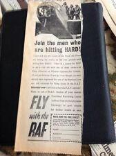K1-8 Ephemera 1940 Ww2 Advert Fly With The R A F Join The Men Who Are Hitting Ha