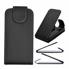 Black Leather Flip Case Cover Pouch for Sony Xperia X8