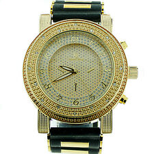 MENS ICED OUT GOLD CAPTAIN BLING ICE NATION HIP HOP BULLET BAND WATCH