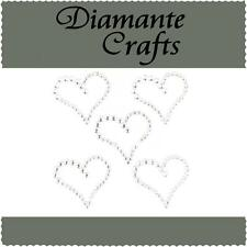 5 Clear Diamante Hearts  Vajazzle Rhinestone Body Art Self Adhesive Gems