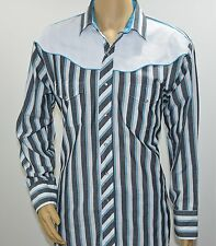 Vintage Kenny Rogers by Karman Black White Striped Western Shirt Men's XL - USA