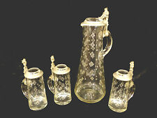 FANTASTIC RARE GERMAN ETCHED GLASS GNOME TANKARD & THREE MUG SET – CIRCA 1880