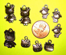 3 Different Assorted Silver Mixed Hello Kitty Theme Lot of 9 Pendant Charms