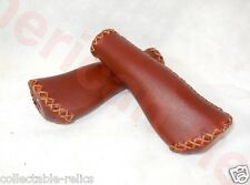 Bicycle Grips Stitched Retro Vintage Tan Brown Old School Bike Handlebar Cruiser