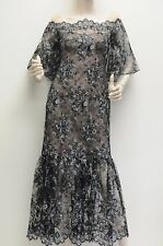 $1400!! NEW Marchesa Notte black Lace Metallic Nude OFF SHOULDER DRESS GOWN 4