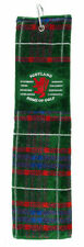 Golf Towel Scotland Scottish with Lion Rampant - Home of Golf - Green Tartan