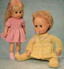 """KNITTING PATTERN TO MAKE 13"""" VINTAGE TINY TEARS BABY DOLLS CLOTHES & 13-14"""" DOLL"""