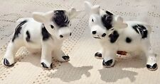 VINTAGE 1950's  HAND PAINTED PORCELAIN COW SALT & PEPPER SHAKER SET - JAPAN