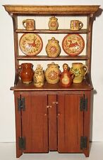 1984 Signed Artisan Stepback Cupboard in 1:12 + 18 pieces of Jane Graber Redware